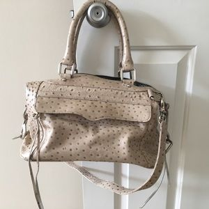 Rebecca Minkoff ostrich embossed grey leather bag